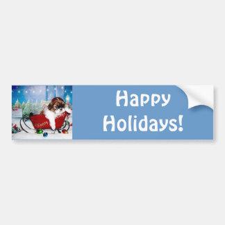 Happy Holidays Shih Tzu Bumper Sticker