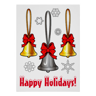 Happy Holidays: Silver and Gold Bells with Bows Poster