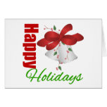 Happy Holidays Silver Bells Greeting Card