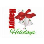 Happy Holidays Silver Bells Postcard