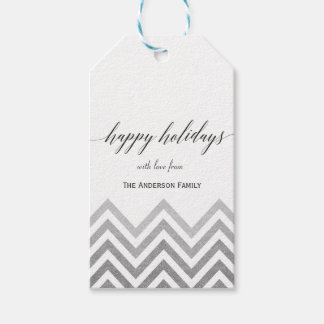 Happy Holidays silver chevron gift tags