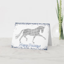 Happy Holidays Silver Dressage Horse Greeting Card