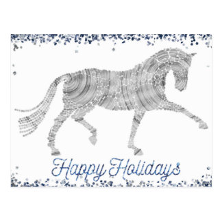 Happy Holidays Silver Dressage Horse Postcard