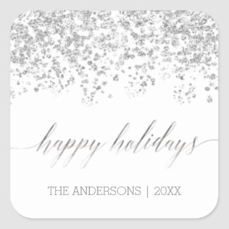 Happy Holidays silver glitter Christmas Stickers