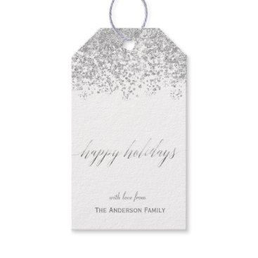 Christmas Themed Happy Holidays silver glitter gift tags