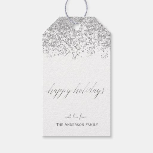 Happy Holidays silver glitter gift tags Pack Of Gift Tags
