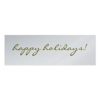 Happy Holidays: Silver Greeting Tag Double-Sided Mini Business Cards (Pack Of 20)