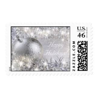 """""""Happy Holidays"""" Silver Postage Stamp"""