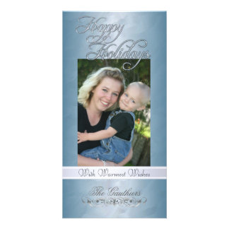 Happy Holidays Silver Ribbon Teal Foil Photo Card