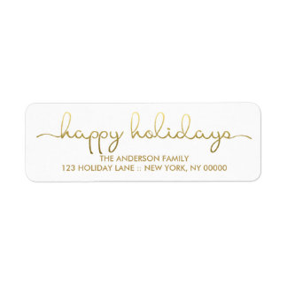 Happy Holidays Simple Gold Hand Lettered Label