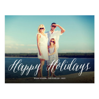 Happy Holidays Simple Script Chic Holiday Postcard