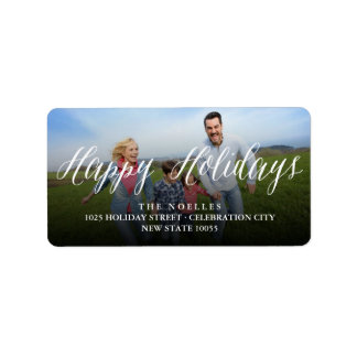 Happy Holidays Simple Script Modern Photo Labels