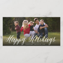 Happy Holidays Simple Script Photo Holiday Card