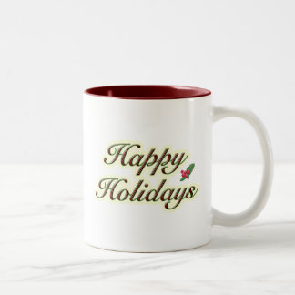 Happy Holidays Simple Text Two-Tone Coffee Mug