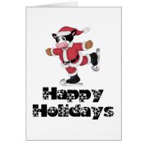 Happy Holidays Skating Santa Cow Card