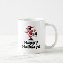 Happy Holidays Skating Santa Cow Coffee Mug