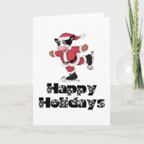 Happy Holidays Skating Santa Cow Holiday Card