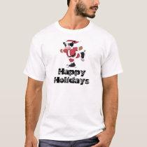 Happy Holidays Skating Santa Cow T-Shirt