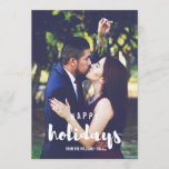 "Happy Holidays Sketched Personalized Photo Holiday Card<br><div class=""desc"">Share holiday greetings with these Christmas photo cards featuring your favorite vertical or portrait oriented photo. &quot;Happy Holidays&quot; appears at the bottom as a text overlay in white brush modern lettered typography. Personalize with your family name or names beneath. Cards reverse color purple can be changed to fit you photo...</div>"