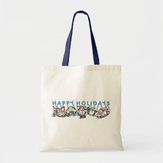 Happy Holidays Skiing Snowmen Canvas Bags