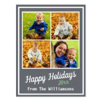Happy Holidays Slate Family Photo Collage Postcard