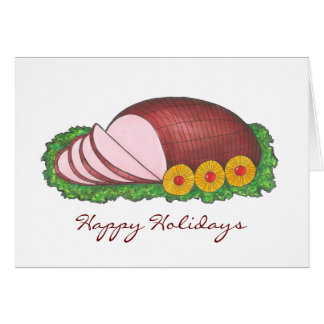 Happy Holidays Sliced Ham Christmas Dinner Card