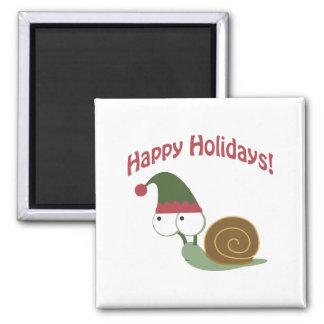 Happy Holidays! Snail Elf Refrigerator Magnet