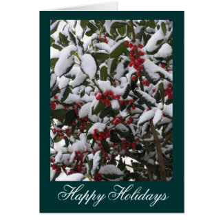 Happy Holidays Snow and Berries. Card