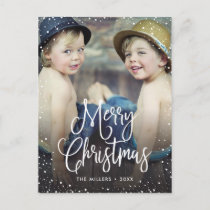 Happy Holidays Snow Christmas Photo Holiday Postcard