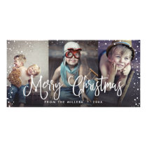 Happy Holidays Snow Christmas Seamless 3-Photo Card