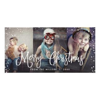 Happy Holidays Snow Christmas Seamless 3-Photo Card