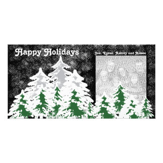 Happy Holidays Snow Covered Trees Photocard Card