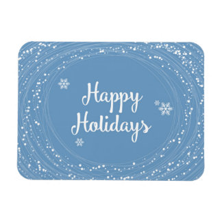 Happy Holidays Snow Dots, Blue and White, Elegant Magnet