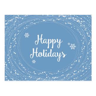 Happy Holidays Snow Dots, Blue and White, Elegant Postcard