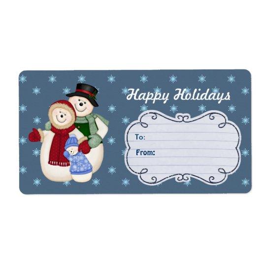 Happy Holidays Snow Family Gift Tags