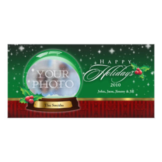 Happy Holidays Snow Globe Customizable Card