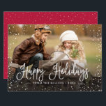 "Happy Holidays Snow Holiday Card<br><div class=""desc"">Celebrate the holidays with this chic Christmas card featuring modern script and snowfall.</div>"
