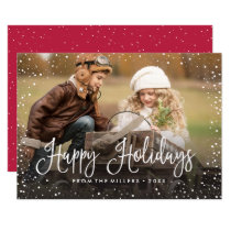 Happy Holidays Snow Holiday Card