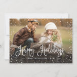 """Happy Holidays Snow Holiday Card<br><div class=""""desc"""">Celebrate the holidays with this chic Christmas card featuring modern script and snowfall.</div>"""