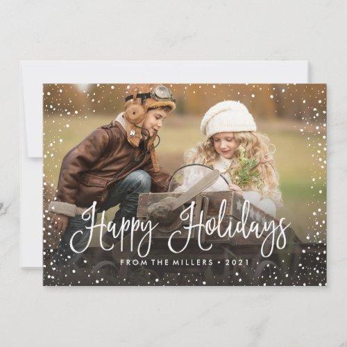 Happy Holidays Snow Holiday Card