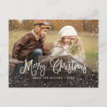 "Happy Holidays Snow Holiday Postcard<br><div class=""desc"">Celebrate the holidays with this chic Christmas postcard featuring modern script and snowfall.</div>"
