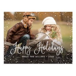 Happy Holidays Snow Postcard