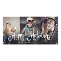 Happy Holidays Snow Seamless 3-Photo Card