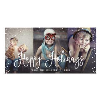 Happy Holidays Snow Seamless 3-Photo Card