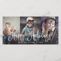 Happy Holidays Snow Seamless 3-Photo Holiday Card