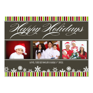 Happy Holidays Snowflake and Stripe Photo Card