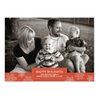 Happy Holidays snowflake card | Flat | 5x7 Custom Announcement