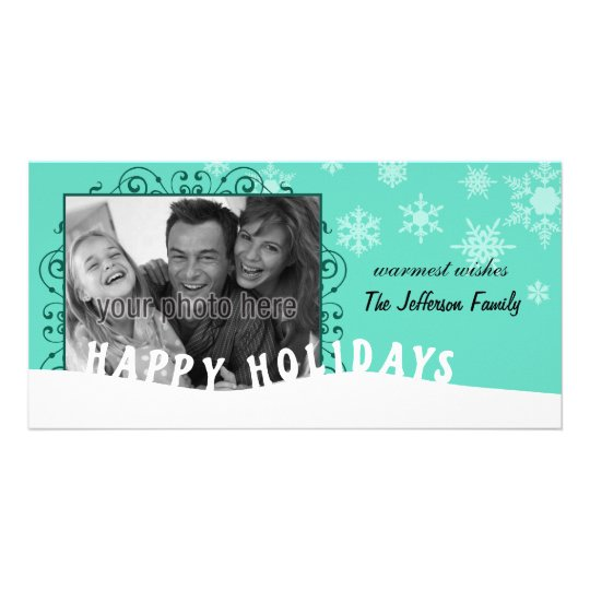 Happy Holidays Snowflake Christmas Photo Card