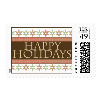 Happy Holidays Snowflake Pink and Brown Stamp