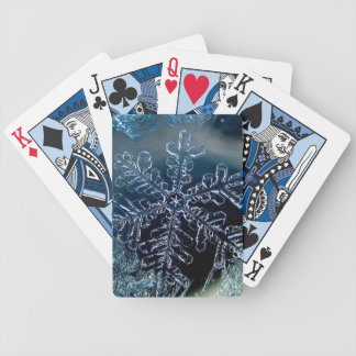 Happy holidays snowflake bicycle playing cards